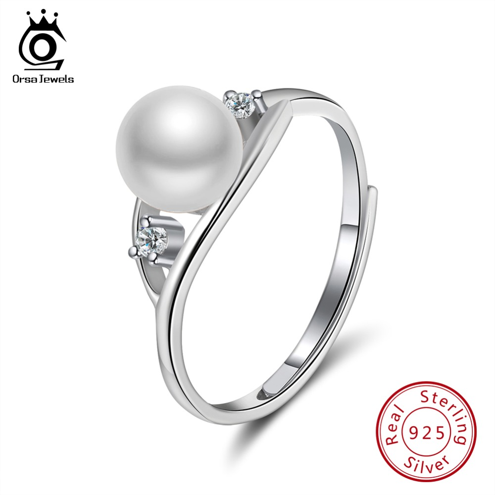 ORSA JEWELS 100% Real 925 Sterling Silver Rings Fresh Water White Pearl With AAA CZ Shiny Female Birthday Party Jewelry SR76-W