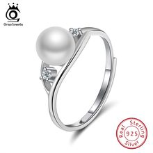 ORSA JEWELS 100% Real 925 Sterling Silver Rings Fresh Water White Pearl With AAA CZ Shiny Female Birthday Party Jewelry SR76-W(China)