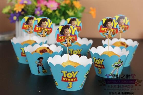 12 Unids (6 unids envoltorio + 6 unids topper) New Toy Story 3 Estilo