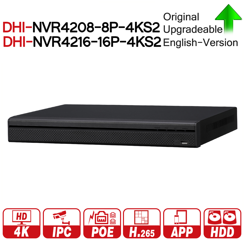 DH 4K NVR NVR4208-8P-4KS2 NVR4216-16P-4KS2 With PoE Port Support 4K POE H.265 2 SATA For Profession IP Camera Security System dahua network video recoder nvr4208 8p hds2 nvr4216 16p hds2 8 16ch nvr support onvif poe nvr recorder for poe camera