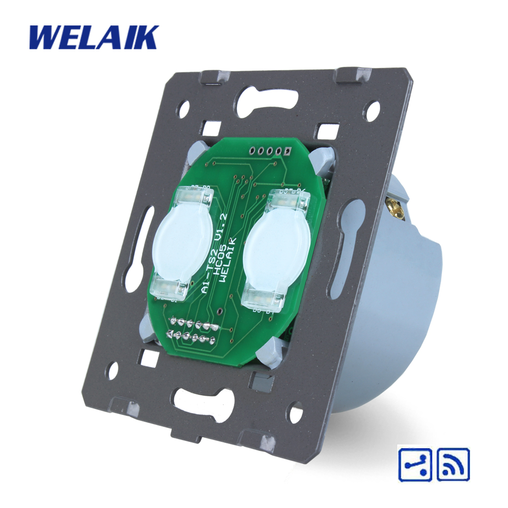WELAIK  Switch White Wall Switch EU Remote Control Touch Switch DIY Parts Screen Wall Light Switch 2gang2way AC110~250V A924 welaik glass panel switch white wall switch eu remote control touch switch screen light switch 1gang2way ac110 250v a1914w br01