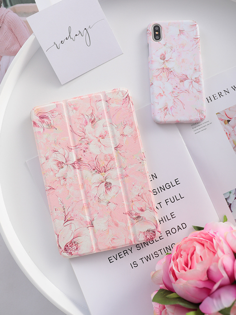 Pink Flower Flip Cover For iPad Pro 9.7 11 air 10.5 12.9 2020 Air2 Mini 1 2 3 4 5 2019 Tablet Case for New iPad 9.7 2017 2018