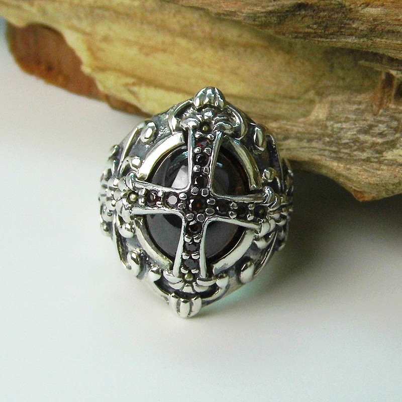 S925 Sterling Silver Retro Thai Silver Cross Ring Exaggerated Atmospheric Ring Mens Finger Ring New