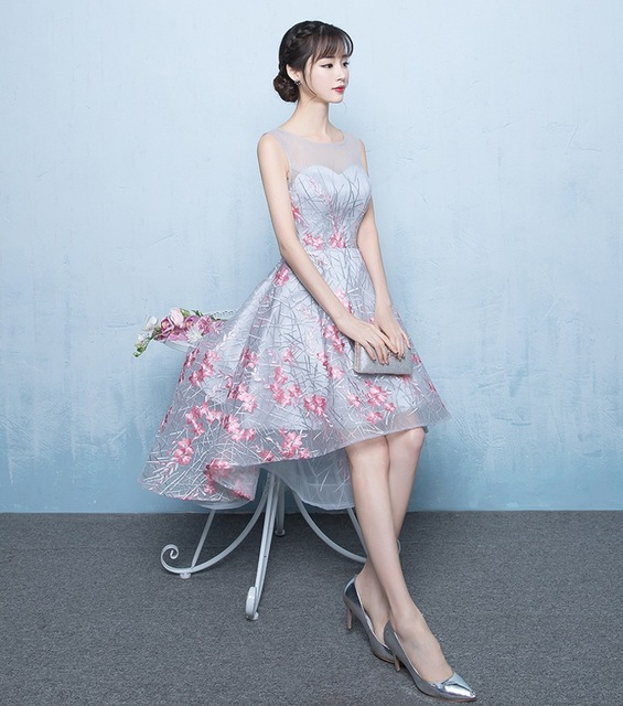Elegant Hi Lo Prom Dress 2017 Embroidery Lace Illusion Tulle High Low Prom Party Dresses For Graduation Imported Homecoming Gown
