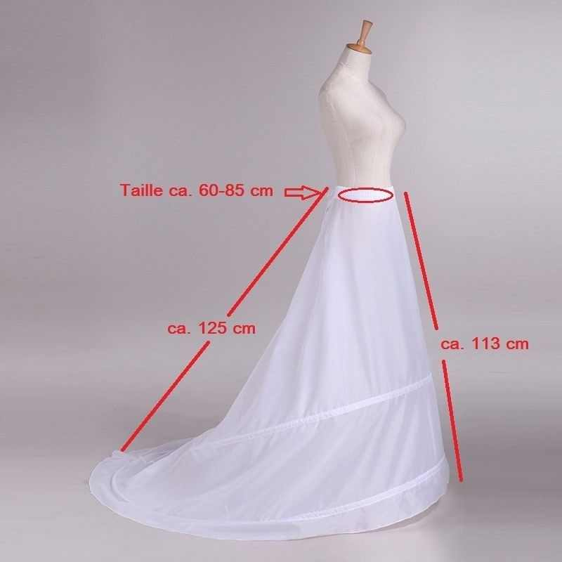 Train Hoop Skirt New 2 Rings White Wedding Dress Underskirt