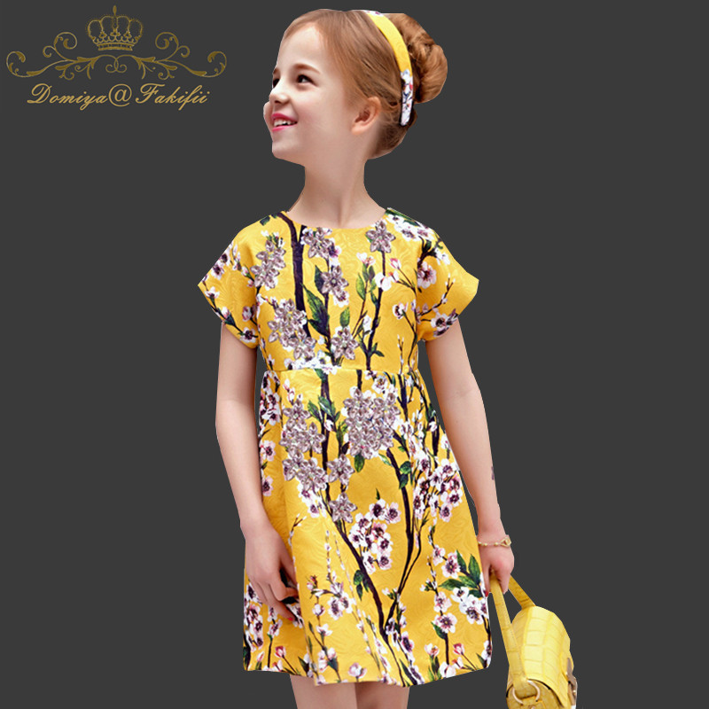 Toddler Autumn Girls Clothes 2018 Famous Baby Dresses For Weddings with Floral Printed Pattern O Neck Kids Party Dress for Kids hot sale retro floral pattern denim neck tie for men