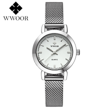 WWOOR Women's Watch Ultra Thin Stainless Steel Quartz Watch Lady Casual Hours Bracelet Watches Women Lover's Female Clock Gift