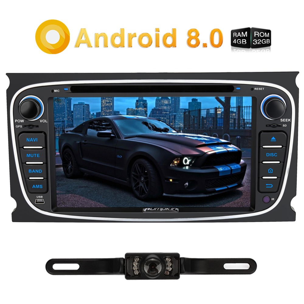 Pumpkin 2 Din Android 8.0 Car DVD Player GPS Navigation Qcta-Core Car Stereo For Ford Mondeo/Focus Wifi 4G FM Rds Radio Headunit