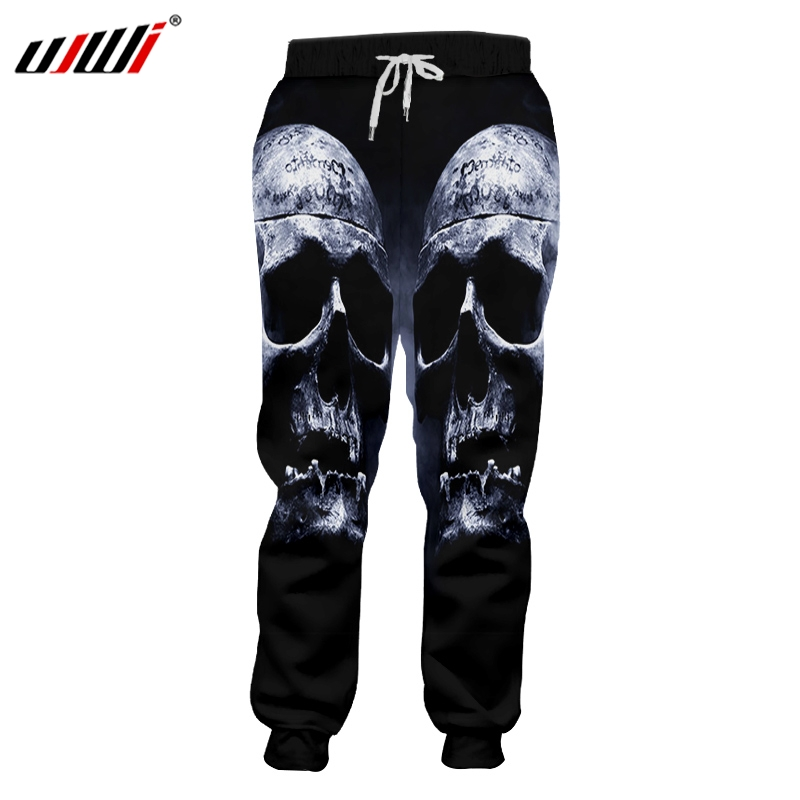 UJWI Mens Hip Hop Sweatpants Mysterious Smoke Skulls Trousers 3D Printed Personality Punk Rock Man Pants Large Size 6XL