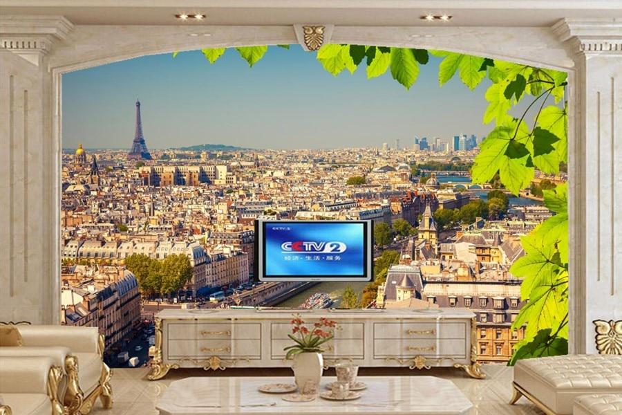 Custom 3d wall murals france houses rivers bridges paris for 3d wallpaper for wall for living room