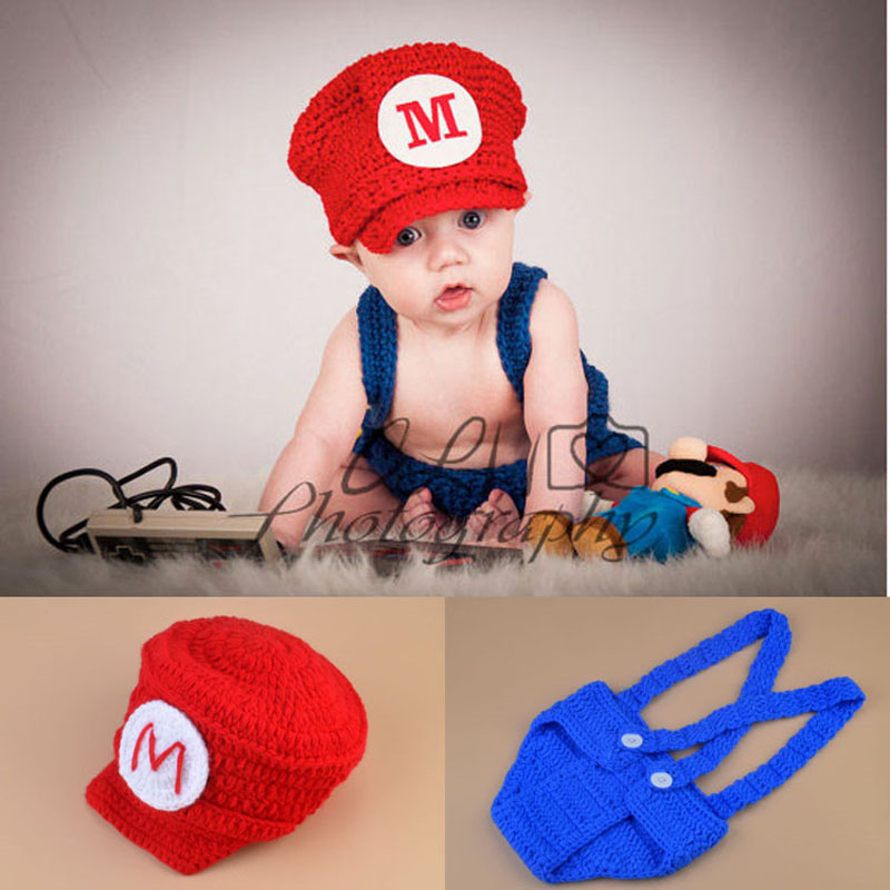 Crochet Newborn Baby Photo Props Super Mario და Luigi Inspired Beanie Hat & Diaper Cover Set ნაქსოვი ბიჭის ფოტო კოსტუმი H252