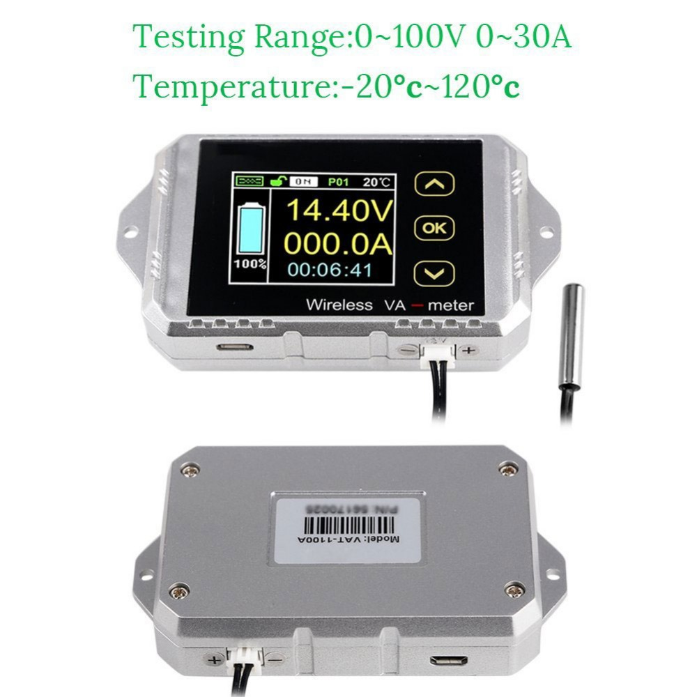 Wireless Bi-directional Voltage Current Power Meter Ammeter Voltmeter Capacity Coulomb Counter DC 0.01-100V 0.01-100A #274834 dc 400v 300a wireless bi directional voltmeter ammeter capacity volt power meter