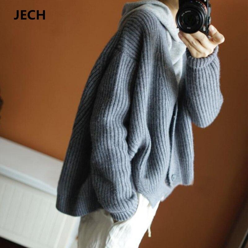 Зимние для женщин кашемир V средства ухода за кожей шеи кардиганы для свитеры JECH 2018, новая мода повседневное тонкий