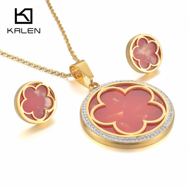Kalen Stainless Steel Red Plastic Peru Lima Gold Color Flower Rhinestone Circle Pendant Necklace Earrings For