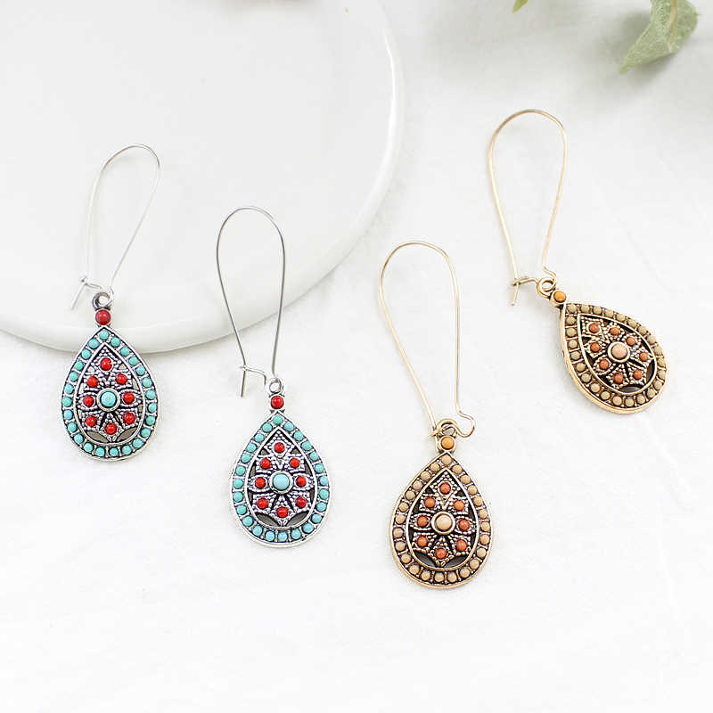 Bohemian Small Drops Pendant Earrings Hollow Love Drops Color Beads Handmade Ear Hooks Ethnic Handmade Charm Jewelry