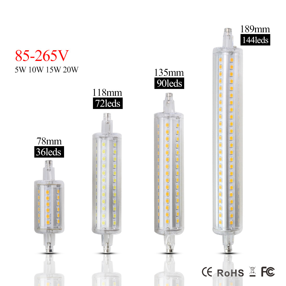 Dimmable r7s led bulb 5w 78mm 10w 118mm r7s lamp lampadas for R7s led 78mm 20w