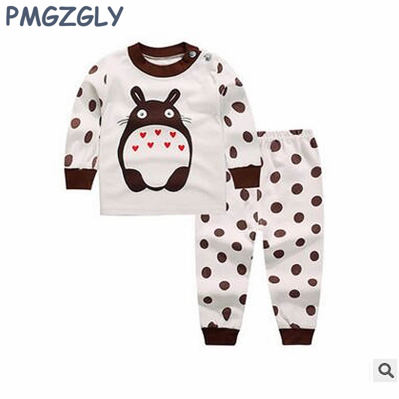 Cotton Sleepwear For Girl Baby Sleep Set 0-5 år Barn Long Johns Klær 2pc Coat + Bukser Nightgown Boys Sleepwear Long Sleeve