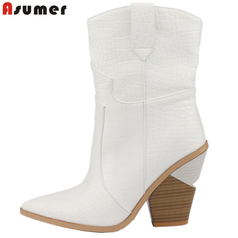 ASUMER Plus Size 34 46 New 2019 Women boots thick high heels autumn winter boots top