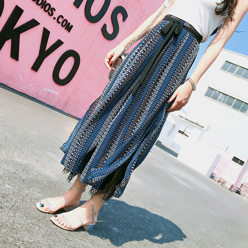 Chiffon Wide Leg   Pants   Women Summer Beach High Waist Trousers Chic Streetwear Sash Casual   Pants     Capris   Female