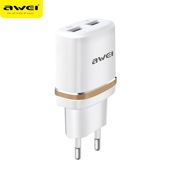 Awei C-930 Dual USB Universele Quick Lading AC110-240V Voor iphone 7 8 Huawei Telefoon Plug Snel Opladen Lader Voor Samsung S8 s9