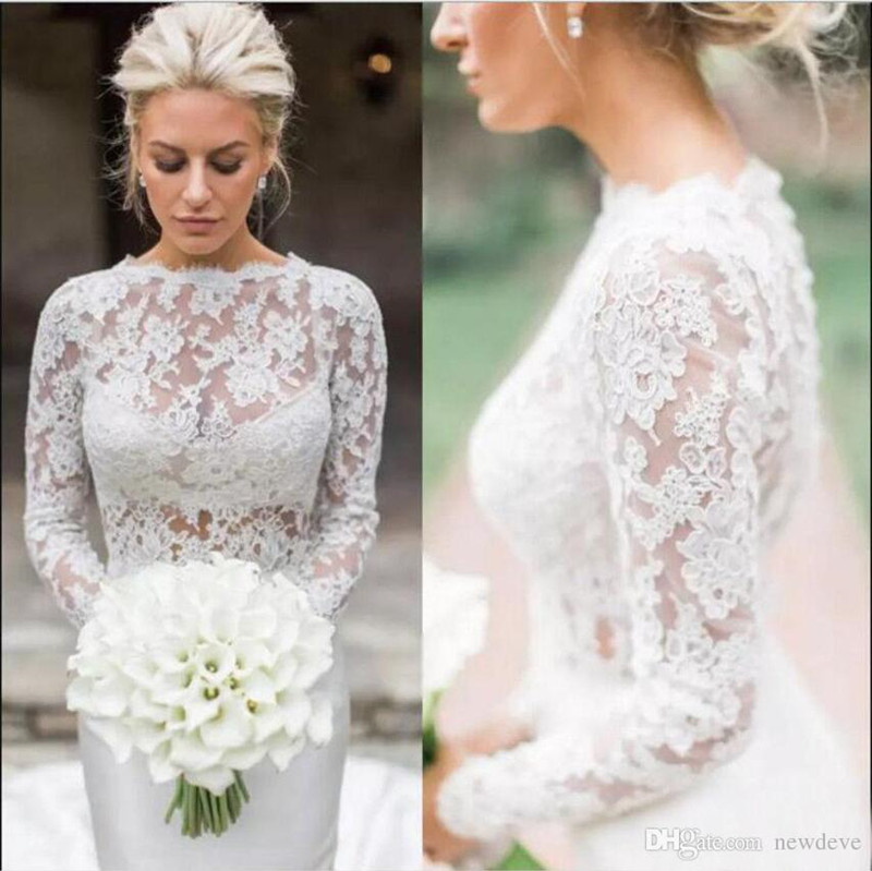 Elegant 2019 Wedding Jacket White Ivory Bridal Bolero Jackets Wedding Top Lace Long Sleeve Jewel Neck Wedding Wrap