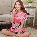 O envio gratuito de Conjuntos de Pijama mulheres Pijamas 100% Pijama de Algodão de Manga Curta Mulheres Por Atacado