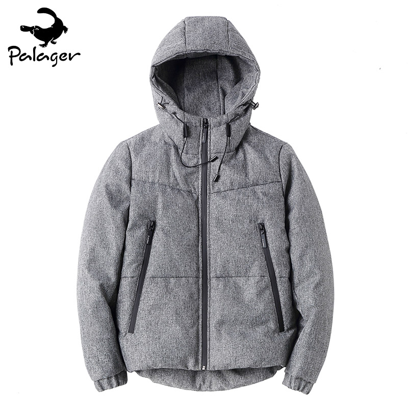 Palager Winter Hooded Parkas Men 80% White Duck Down Jacket Men Casual Polyester Parka Coat Warm Duck Feather Puffer Jacket Grey