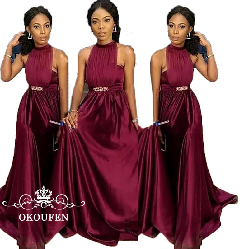 Burgundy Stretchy Stain Tulle   Bridesmaid     Dresses   With Beading Waist 2018 Sexy Halter Backless Long Party   Dress   Maid Of Honor