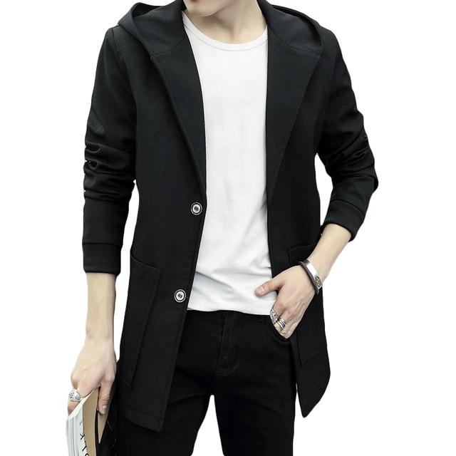 Korean Style Jacket Coat Men Black Gray Slim Fitted Coat Male ...