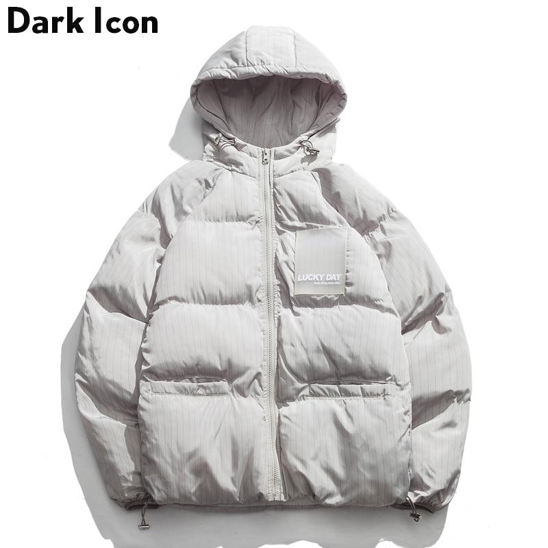 1c97f67a2 US $97.7 |DARK ICON Striped Adjustable Hemline Drop Shoulder Men's Coat  with Hoodie 2018 Winter Bubble Coats Men Warm Coats Black Grey-in Parkas  from ...