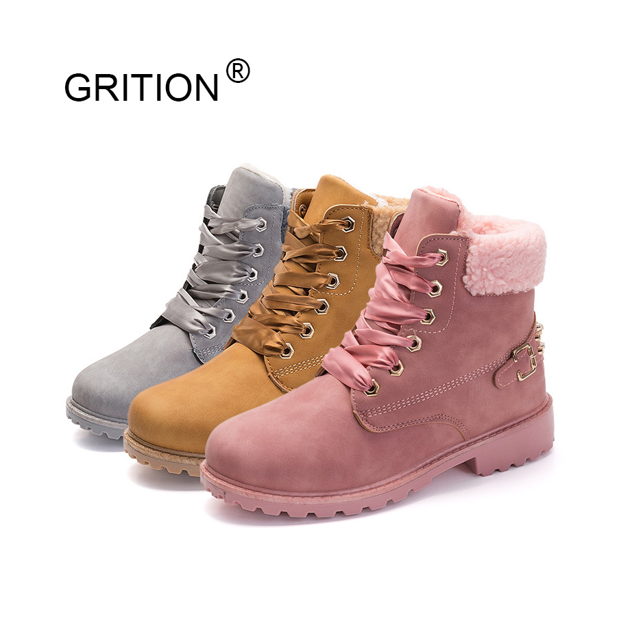 GRITION Snow Boots Women Ankle Slip-resistant Boots Thermal Female Plush Shoes Warm Pink/ Gray/ Camel Flat Shoes for Winter