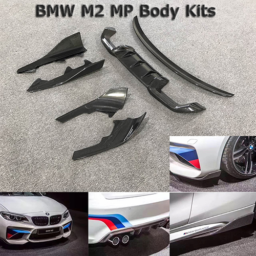 MP Style Carbon Fiber Body Kits For BMW M2 Front Lip Rear Lip Front Corner Side Corner Sports Racing Tuning image