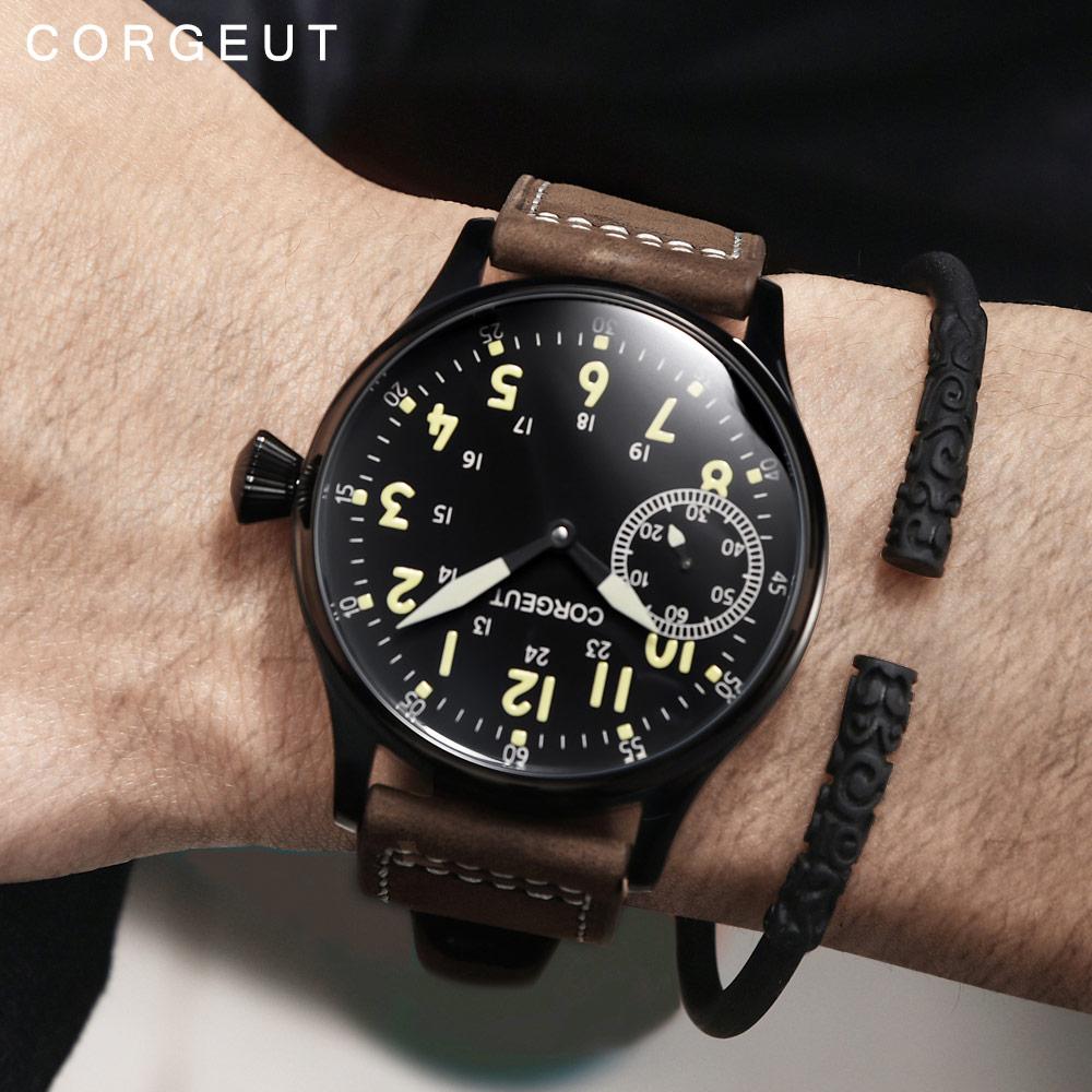 Corgeut 패션 가죽 탑 빛나는 기계 손 권선 시계 17 보석 st3600 갈매기 6497 운동 스포츠 손목 시계-에서기계식 시계부터 시계 의  그룹 2