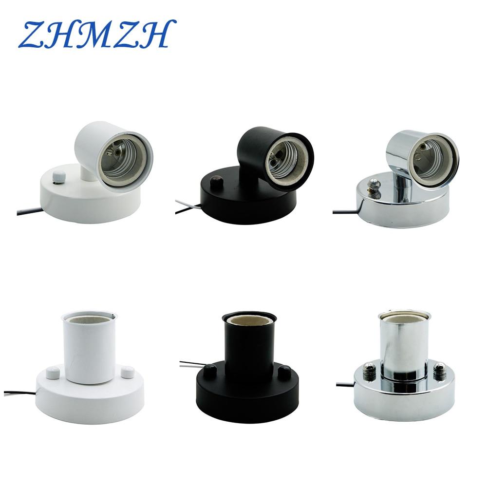 Universal 180 graders styrning E14 E27 lamphållare Högtemperaturbeständig keramisk skruv Lampbas