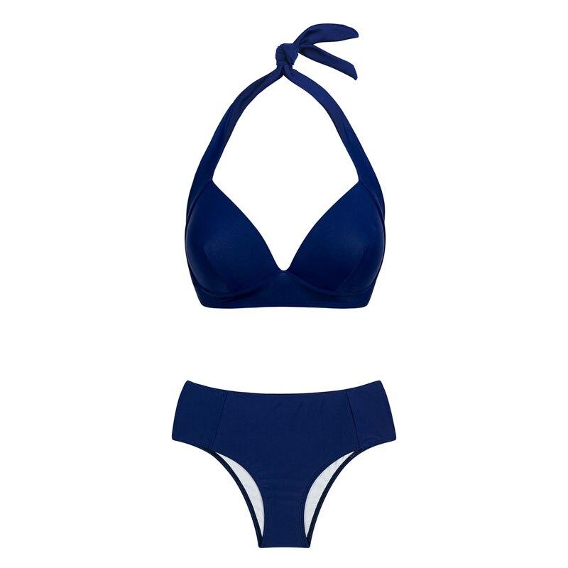 HTB1Hj4ehqAoBKNjSZSyq6yHAVXax - Halter high waist bikini women 2018 Push up plunge swimsuit solid sexy vintage swimwear female Sport bathing suit red bikini set