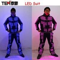 Nowy przybył LED Robot Kostium/LED Spektakl taneczny/Świetlisty Ubrania/LED Garnitury Dla Mężczyzn Kobiety DJ Show lekkie Ubranie