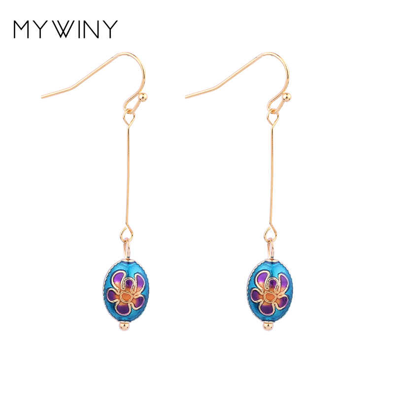 MYWINY 新ファッションジュエリー七宝豆イヤリング女性、中国風エナメルロングフックイヤリング