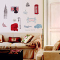 Wall Stickers Strightlights Bus Telephone Booth Great Britain Tower For Kids Early Learning Room Decorations
