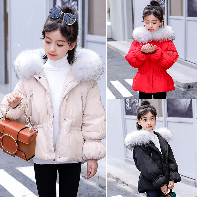 Winter Girls Coat White Duck Down Padded Jacket Fashion Hooded Girls Down Coat with Fur Collar RT230