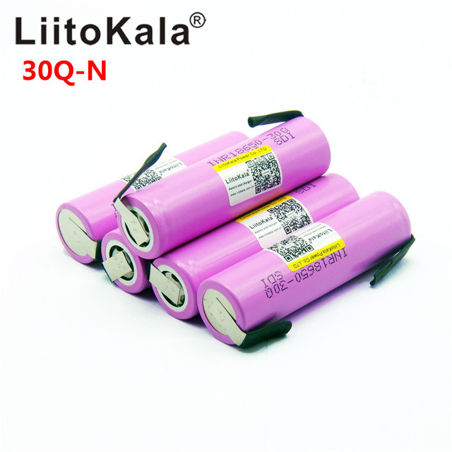 Liitokala 30Q 18650 3000mah High power discharge Rechargeable battery power high discharge,30A large current + DIY nicke 4