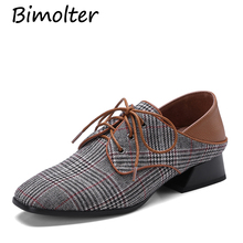 Bimolter Women Genuine Leather Oxfords British Style Flats Pointed Toe Classic Lace Up Lady's Brogue Shoes Spring Autumn LFEB010 недорого