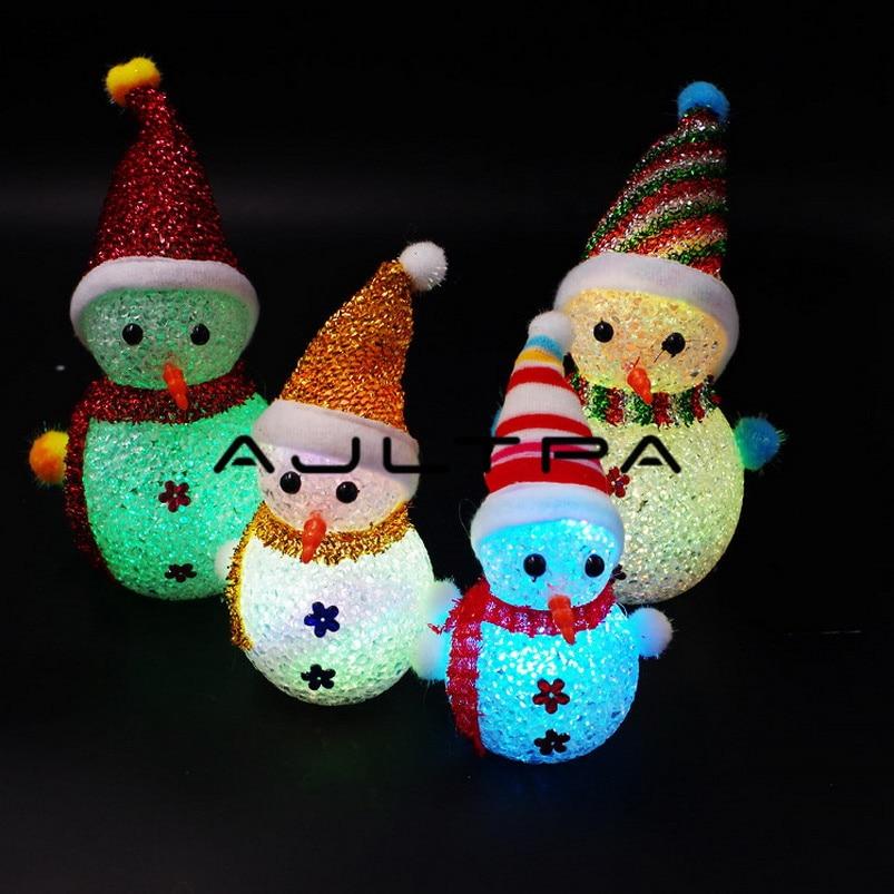 13cm 15cm 19cm Gift LED Snowman Santa Claus Ornament Christmas Tree Light Hanging Decor HG Light Snowman Lights Colorful