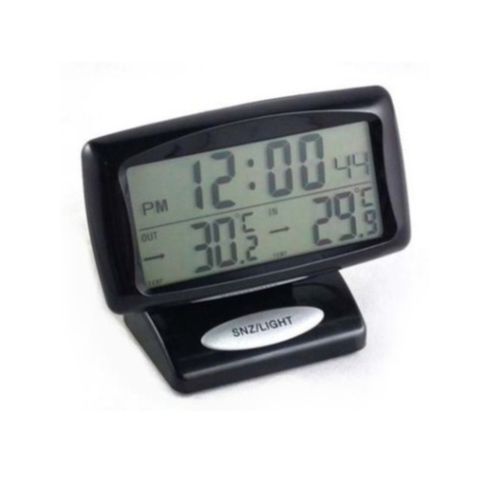 Compact Size Large LCD Display Auto Car Thermometer High Accuracy Alarm Clock Vehicle Car Thermometer With Backlight