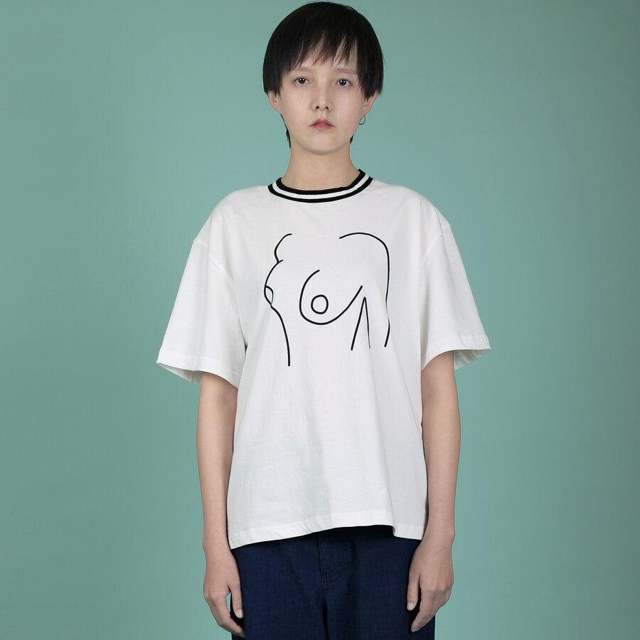 2018 YIZISToRe normcore casuale maniche corte in cotone coppia di T-Shirt con stampa in 4 stili (DIVERTIMENTO KIK)