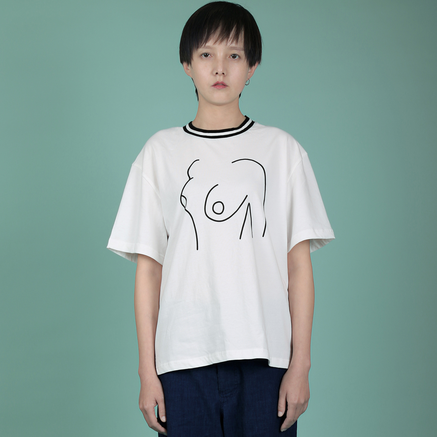 YIZISToRe original décontracté normcore minimalistshort manches couple T-shirts avec impression pour filles et garçons dans 4 styles (FUN KIK) - 2