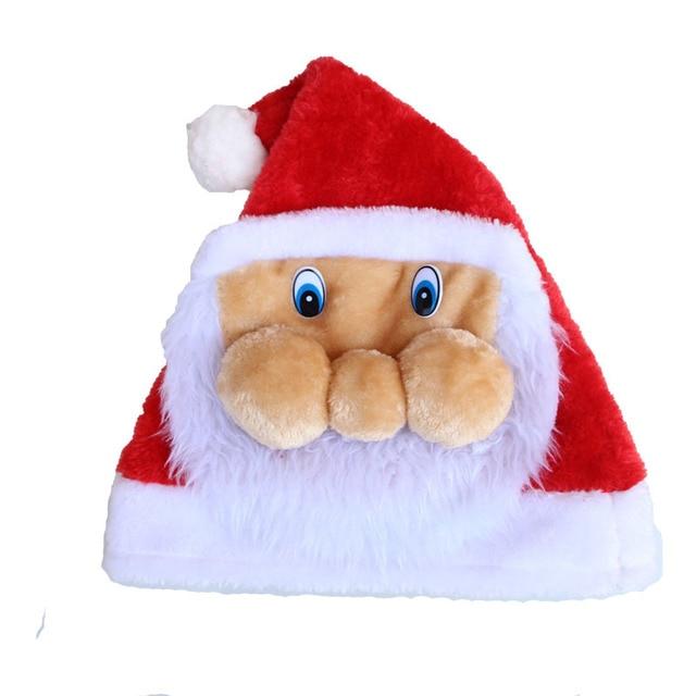 9ea2e62f3c894 Christmas Hats Soft Plush Adult Children Santa Claus Face Big Moustache Caps  Fashion Santa Claus Face