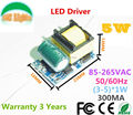 Free Shipping 300MA LED Driver 3W 4W 5W lamp driver 110V 220V 85-265V input for E27 GU10 E14 GU5.3 LED lamp high quality CE