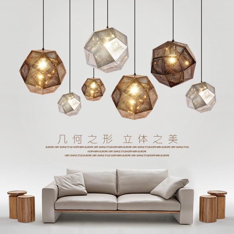 Modern Industrial Pendant Lights Hotel/Restaurant/Bar Pendant Lamps Gold/Silver Stainless Steel Art Geometry Net Lighting цена