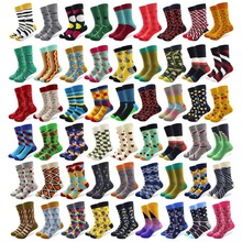 20 Pairs/lot Creative Mens Colorful Striped Cartoon Combed Cotton Happy Socks Crew Wedding Gift Casual Crazy Funny
