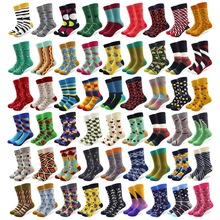 Combed Cotton Crew Happy-Socks Crazy Colorful 20-Pairs/Lot Cartoon Wedding-Gift Men's